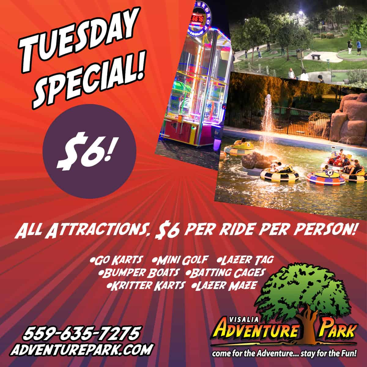 Tuesday Deals At Adventure Park In Visalia